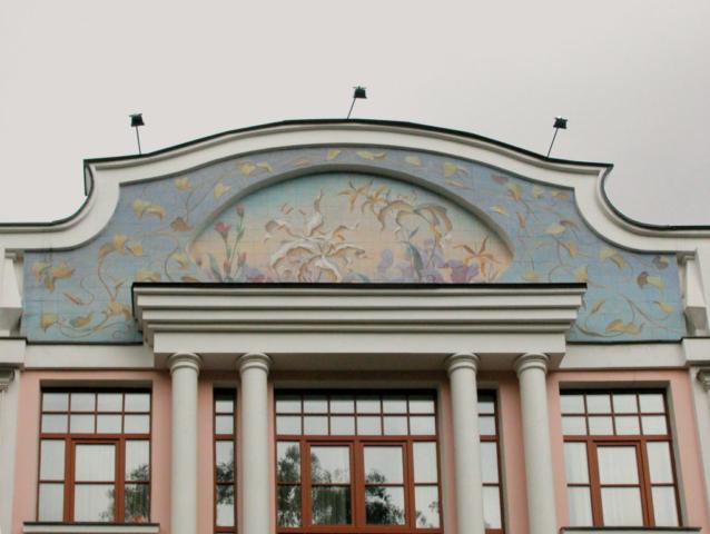 Евгений Щеглов ИРИСЫ И ЛИЛИИ роспись фасада офисного комплекса в Москве керамическая плитка, акрил