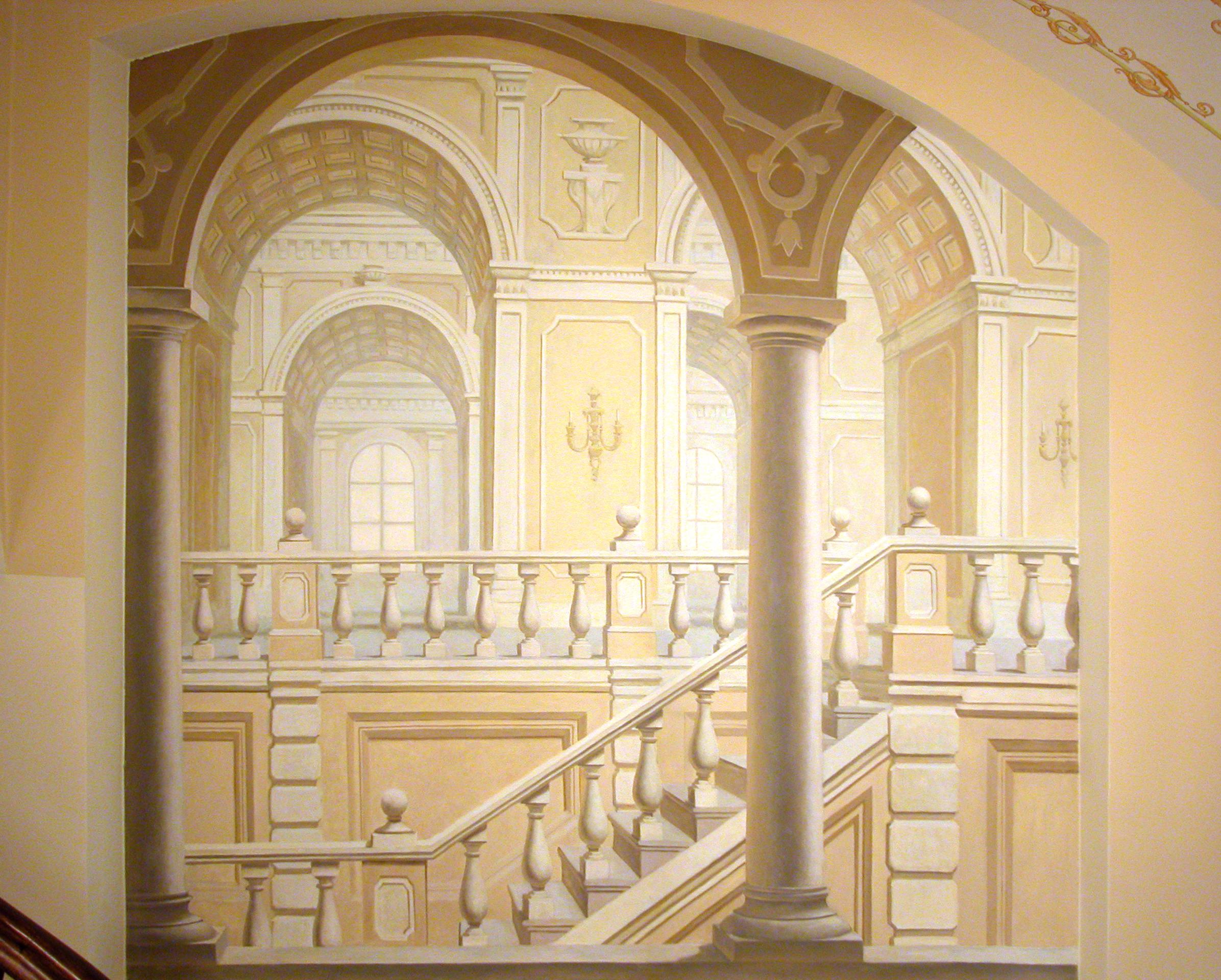 Евгений Щеглов АРХИТЕКТУРНЫЕ КОМПОЗИЦИИ росписи в кафе в Московском Гостином дворе акрил