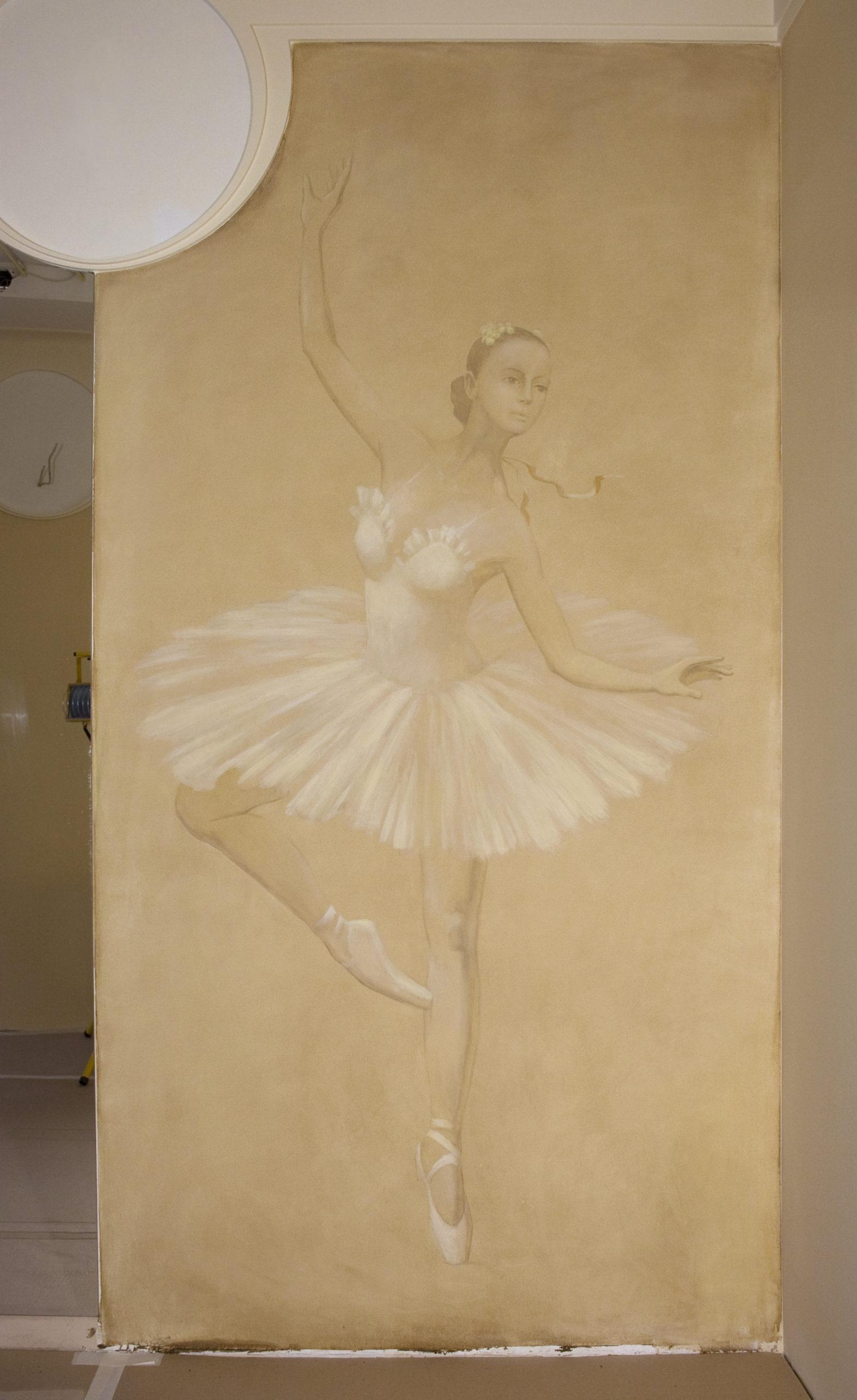 Евгений Щеглов БАЛЕРИНЫ роспись в балетной комнате (фрагмент) акрил
