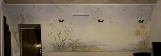 Евгений Щеглов ЛИЛИИ декоративное панно в офисе в Московском Гостином дворе акрил