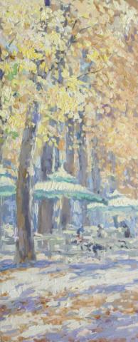 Евгений Щеглов «Кафе с зонтиками в Люксембургском саду»